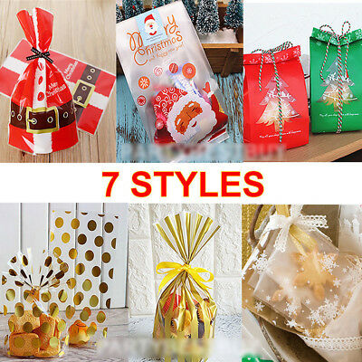 100pcs Christmas Xmas Cellophane Candy Gift Treat Sweet Chocolate Cello Bags New