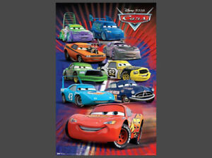 Lightning Mcqueen Characters >> Details About Disney Cars 9 Characters Supercharged Original Wall Poster Lightning Mcqueen