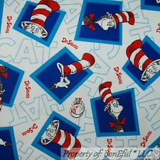 BonEful Fabric FQ Flannel Cotton Quilt White Red Blue S Baby Dr Seuss Cat In Hat