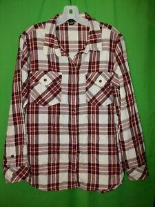0619) SANCTUARY medium M Boyfriend Shirt blouse red plaid flannel loose fit M
