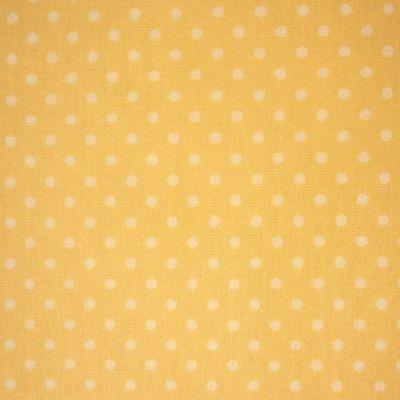 Lemon Yellow 100% Cotton SML White Polka Dot Spot Fabric *Per Metre