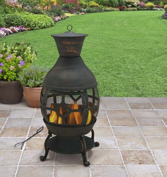 Sunjoy Marwick Cast Iron Steel Wood Burning Fire Pit For Sale