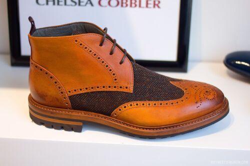 e tessuto in Due cinturino con stivaletto stivali a stivaletti chiaro brogue tacchi caviglia marrone mano fatti alla pelle FxX40q8