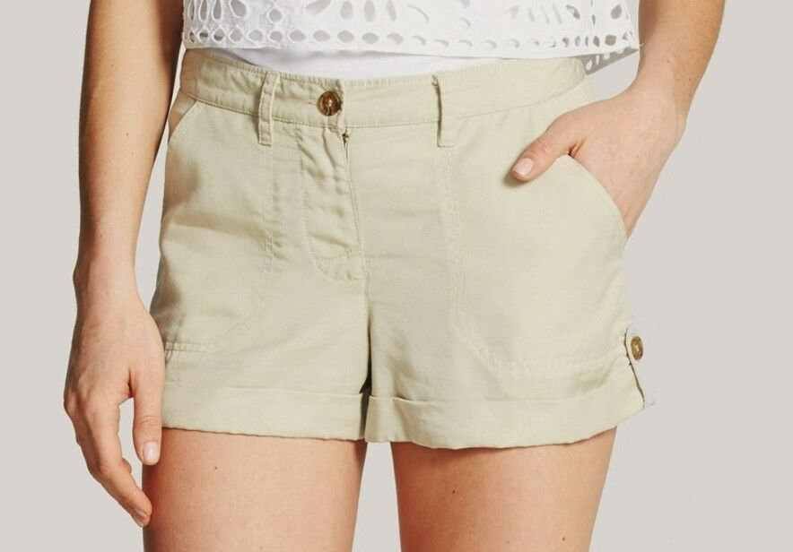 Nwt Vince Camuto Textured Button Tabs Roll Cuff Tencel Shorts Pants Cashew 4