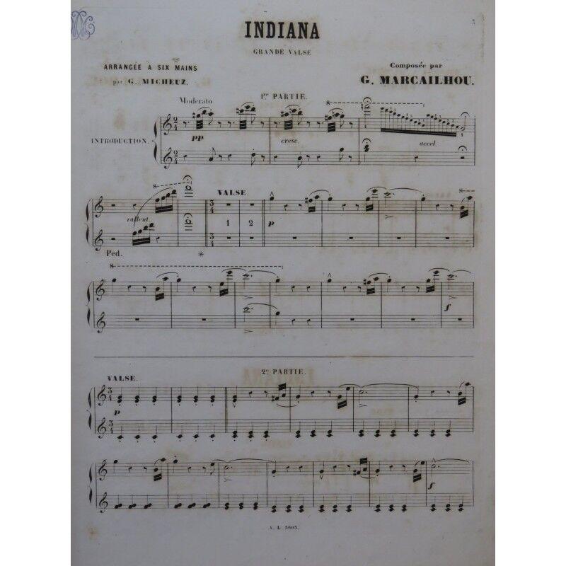 Marcailhou Gatien indiana Piano 6 Hand- ca1875 Partitur Sheet Music Score