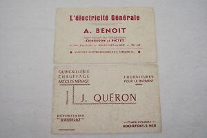 Lot 2 anciens buvards publicité artisans ROCHEFORT électricité et Quincaillerie Xs5TOxjF-09120252-436661879