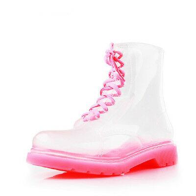 Women Clear Jelly Rain Boots Lace Low Ankle Flat Rubber Wellies Shoes Rainshoes