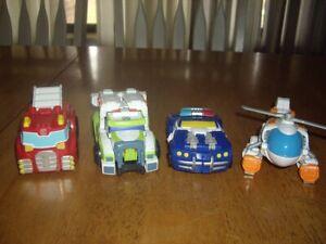 EUC Lot 4 Transformers Autobots Firetruck Medix Ambulance Helicopter Police