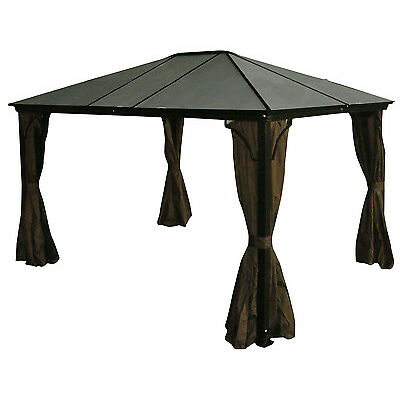 Aluminum Hard Top Gazebo Casa PC Roof - 10x12 with Mosquito Netting Included
