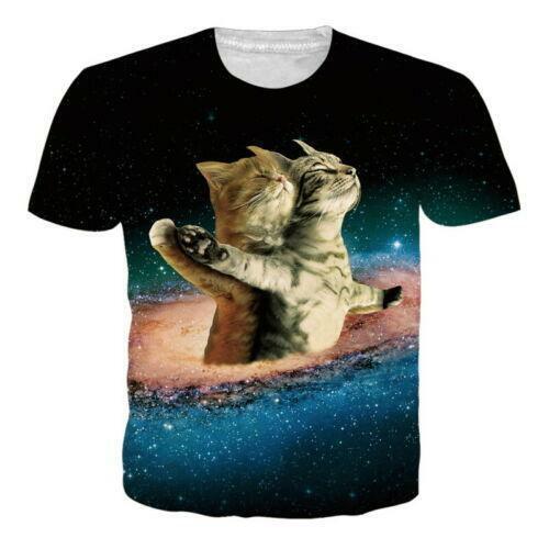 Men Cool 3D Animals Print Summer Casual T-shirt Short Sleeve Funny Graphics Tees