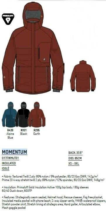 NEW Orage Momentum Mens Large Ski Snowboard 20k Insulator Jacket Coat Msrp 475