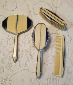 Vintage Art Deco 4 Piece Vanity Dresser Set Brushes Comb