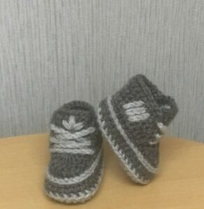 HANDMADE CROCHET BABY FIRST SHOES WOOL CASUAL BOOTS TRAINERS SLIPPERS UNISEX