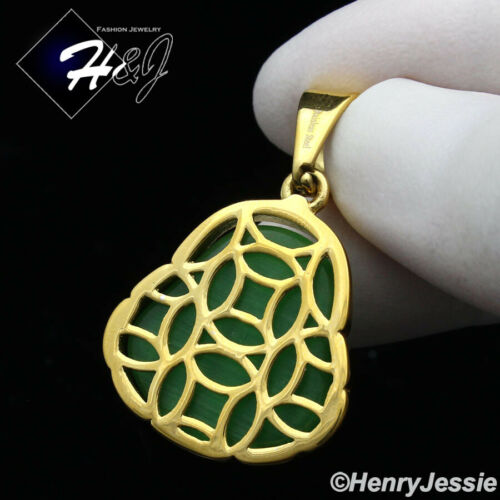MEN WOMEN Stainless Steel Green Jade Gold Buddha Charm Pendant*GP123