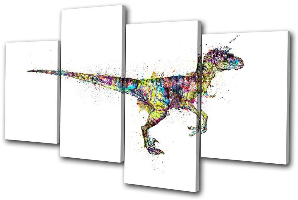 Velociraptor Dinosaur Dinosaur Dinosaur Abstract Animals MULTI TELA parete arte foto stampa bf913c