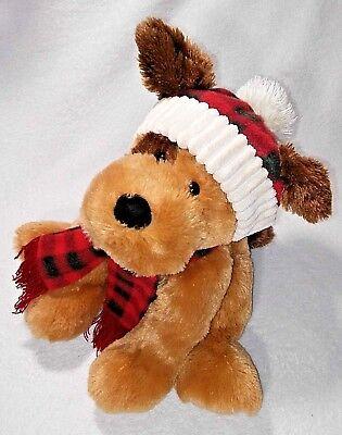 "12/"" Plush HugFun Puppy Dog Brown Red Plaid Scarf /& Hat Stuffed Animal Toy EEUC"