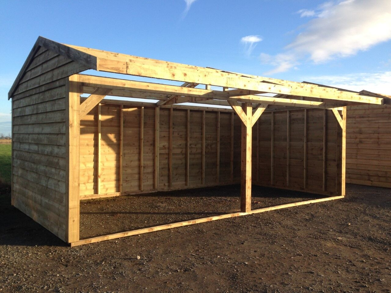 24ft x 12ft , car port , double field shelter , log store , garden shed.