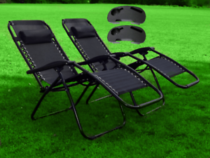2X Zero Gravity Recliner Outdoor Chair Garden Sun Lounger W/Holder Patio Black