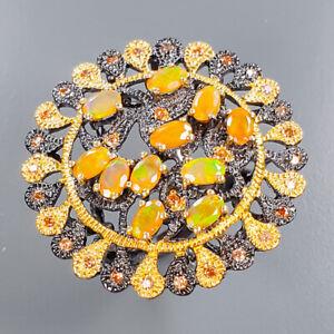 Orange Opal Ring Silver 925 Sterling Fashion women ring Size 7 /R136611