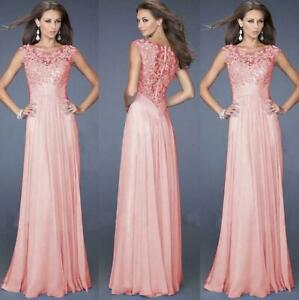 New-Long-Chiffon-Prom-Lace-Evening-Formal-Party-Ball-Gown-Bridesmaid-Dress