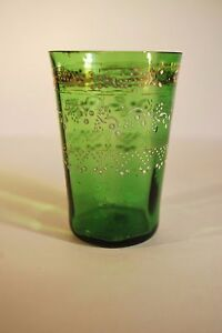 Vintage Victorian Green Glass Tumbler with Enamel Detail   9005 - <span itemprop=availableAtOrFrom>Beaworthy, Devon, United Kingdom</span> - Devon Arcadia is bound by the Consumer Protection (Distance Selling) Regulations 2000, which state that an individual has the right to return an item if they change your mind wit - Beaworthy, Devon, United Kingdom