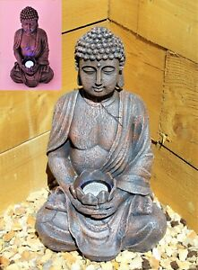 Large-39cm-Solar-Power-Buddha-Stone-Effect-Garden-Outoor-Indoor-Statue-Ornament