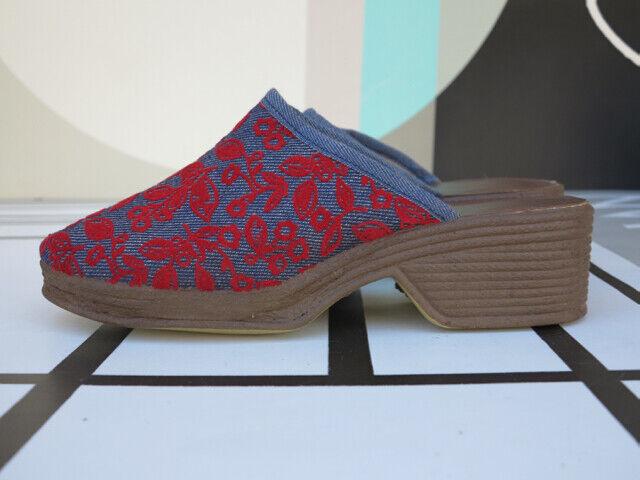 Portina Clogs Plateauschuhe jeans blau rot OvP 70er True VINTAGE 70s Badeschuhe