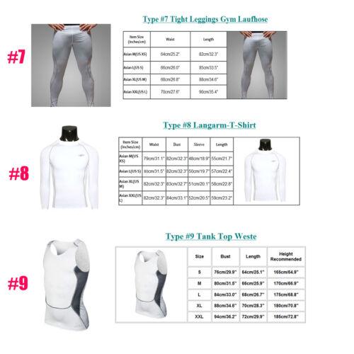 Men White Compression Base Layer Sports Fitness Vests T Shirts Tops Shorts Pants
