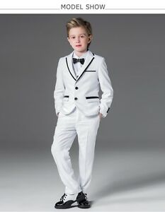 Whit Kid Suit Boy s Tuxedos Prom Sutis Flower Children Dress Suits ... bf8ffc44b04f
