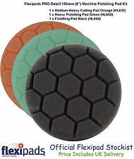 "Flexipads Hex Pro 150mm 6"" Cut Compound Polish Finish Detail 3 x Foam Pads"