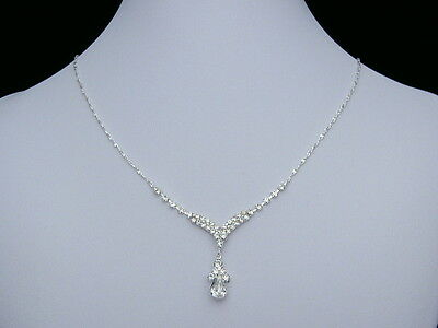 Elegant Bridal Bridesmaid Wedding Rhinestone Crystal Necklace Earrings Set N168
