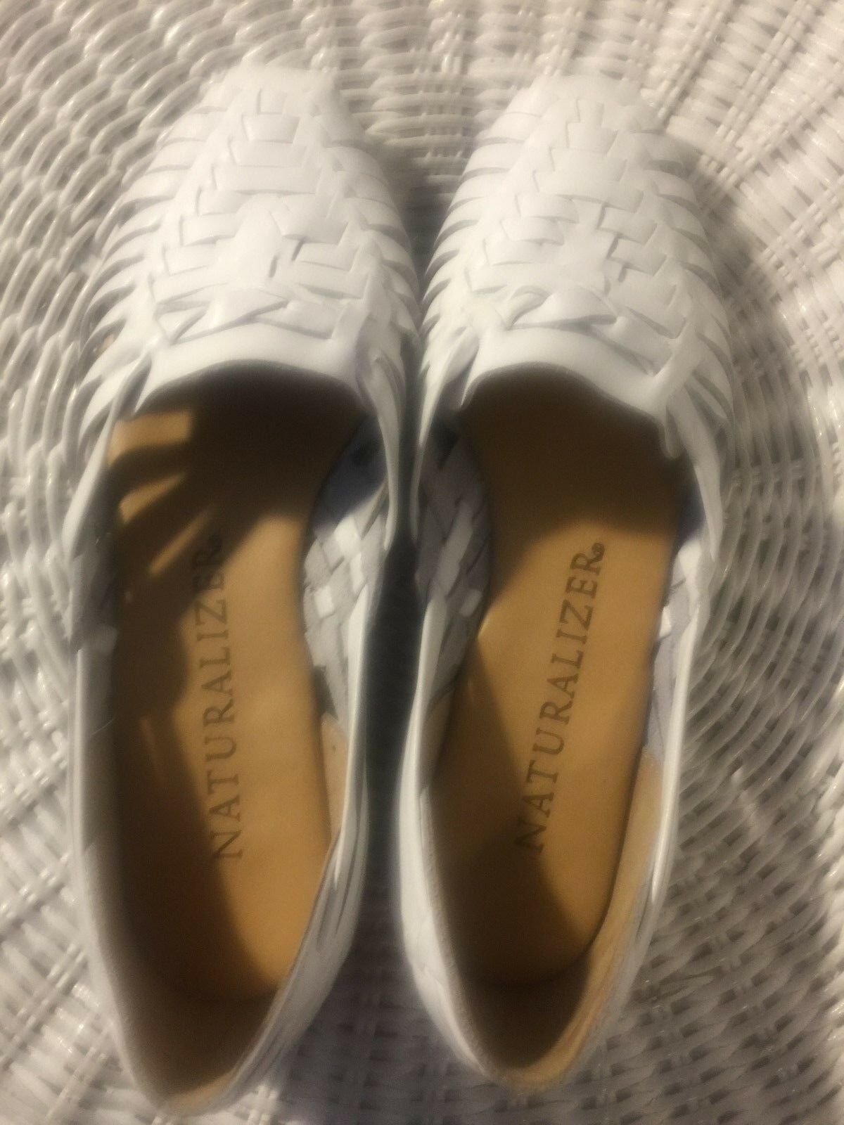 shoes, NATURALIZER, white leather, Moccasin look, slim 1 2  wedge heel, SZ  7W
