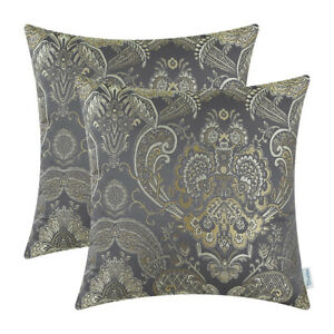 2Pcs-Cushion-Covers-Pillows-Shell-Reversible-Vintage-Florals-Grey-18-034-X18-034
