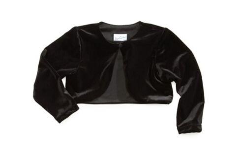 Jayne Copeland Little Girls Black Velvet Shrug Bolero Jacket SZ 2T 3T 4 5 6 6X