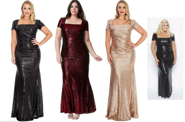 sleek get online best wholesaler Gemma Collins Style Black Sequin Square Long Evening Dress Gown ...