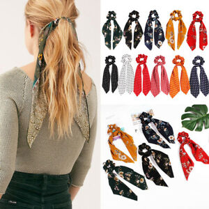 Floral-Bow-Scrunchie-Ponytail-Scarf-Elastic-Hair-Rope-Hair-Ties-Ribbon-Hair-Band
