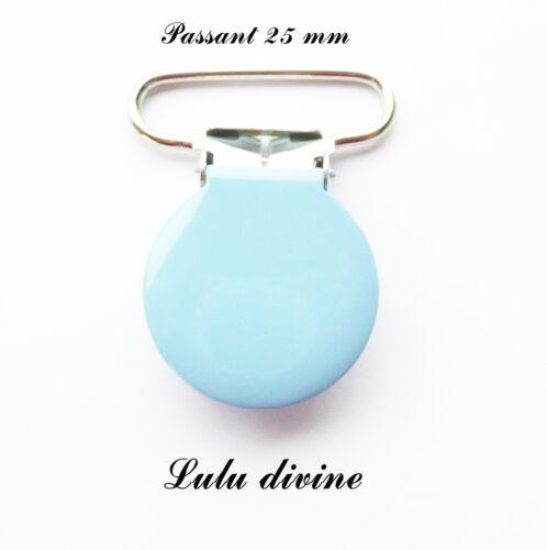 passant de 25 mm : Bleu clair Attache tétine doudou Pince ronde Clip rond