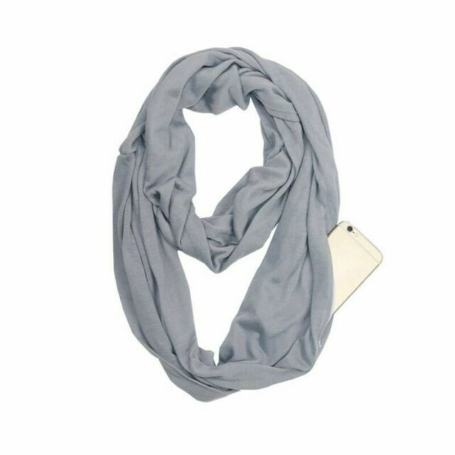 Infinity Scarf Travel Scarf With Pockets Hidden Zipper Pocket Scarf Yellow For Sale Online Ebay