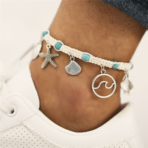 2020 New Boho Beach Starfish Shell Wave White Rope Turquoise Anklet Ankle Chain