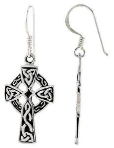 Celtic-High-Cross-Dangle-Hook-Earrings-Triquetra-Pattern-1-1-2-034-Sterling-Silver