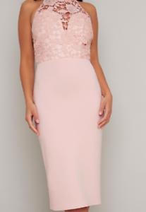 Chi-Chi-Abbie-Dress-Pink-Mink-Ladies-UK-10-Ref53