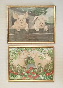 Mary-Christine-Tozer-b1947-Two-original-signed-paintings-Romantic-Pigs-fantastic