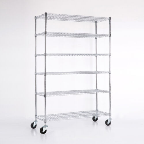 4/5/6 Tier Heavy Duty 82x48x18 Wire Shelving Rack Steel Shelf Adjustable