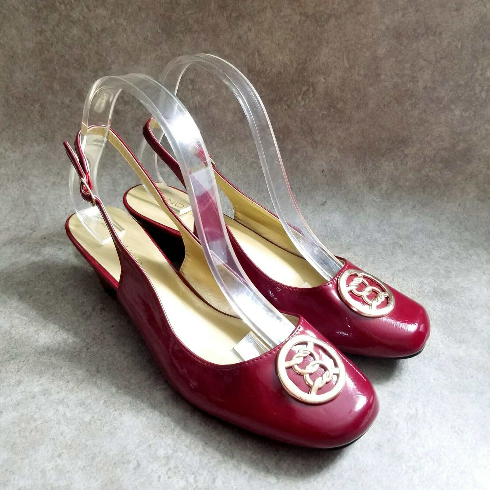 Andiamo Womens Carly Size 8.5 W Red Slip On Slingback 2