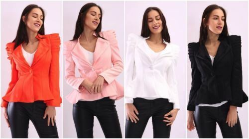 Womens Ladies Kate Kim Puff Shoulder Blazer Frill Button Jacket Tailored Coat