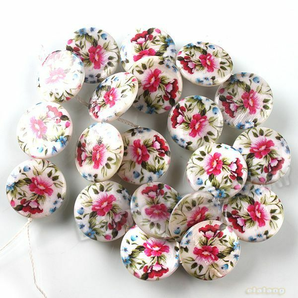 1string New Colorful Flower Charms Shell Beads Fit Jewelery Making 20mm JJ