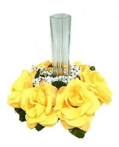 Yellow Candle Ring Wedding Centerpieces Silk Roses Flowers Unity