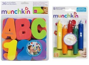 Munchkin Bath Letters & Numbers + Set of Bath Crayons Bath Toy suitable Age 3 +