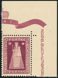 LIECHTENSTEIN-1941-MiNr-197-postfrische-Luxus-Bogenecke-Mi-110