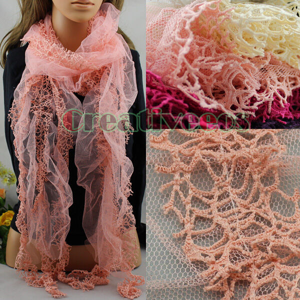 Women's Fashion Scarves Solid Color Lace Mesh Trim Tassel Casual Long Scarf New